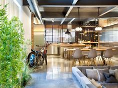 Industrial Loft Space With Fresh Green Decor old commercial building modern loft
