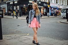 denim jacket:Top Shop *leather skirt:Nasty Gal *knit:Cheap Monday *shoes:The Quiet Riot *backpack:Top Shop