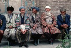 Uzbek elders in traditional chapans.