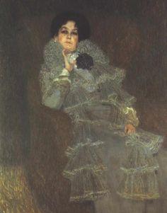 Gustav Klimt: Ritratto di Marie Henneberg (1901-02) olio su tela 140x140. Stile: Simbolismo. Periodo: Fase d'oro