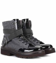 Fabric and patent leather ankle boots | Brunello Cucinelli