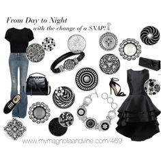 Magnolia and Vine Jewelry.  From Day to Night with the change of a SNAP! by suzyquf on Polyvore featuring even&odd, dVb Victoria Beckham, Carvela Kurt Geiger and Vans