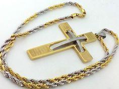 Collana Ciondolo Croce Oro Acciaio Unisex Uomo Donna Crocifisso Gioielli Vicky