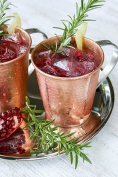 A festive Pomegranate Moscow Mule made with Pama Pomegranate Liqueur is just the thing for celebrating the winter holidays.
