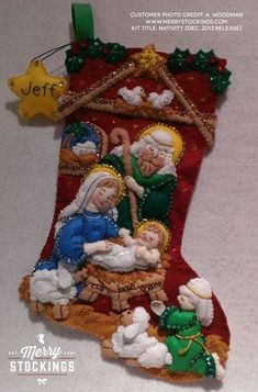 "Newly released Bucilla stocking kit ""Nativity"". Customer photo sent to us by A. Woodman. Nice work! Looks gorgeous..."