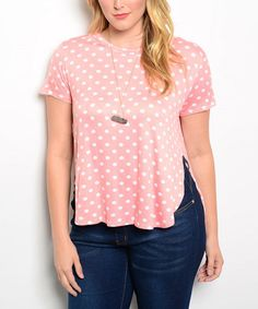 Another great find on #zulily! Pink & White Polka Dot Hi-Low Top - Plus #zulilyfinds