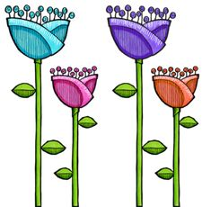 fun doodle flowers - use watercolour pencils for design..either print or card design...JC