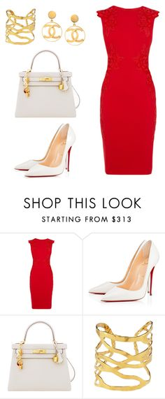 """Untitled #244"" by nadiralorencia on Polyvore featuring Christian Louboutin, Hermès, Devon Leigh and Chanel"
