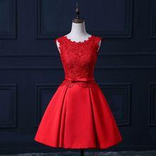 2016 nouveau design robes de soirée élégante courtes réel rouge mariée robe dos nu de bal Prom Party bal / Graduation robe formelle(China (Mainland))