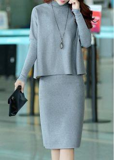 Grey Long Sleeve Top and Back Slit Skirt | lulugal.com - USD $30.64