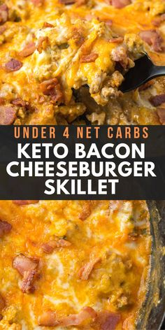 This One Pan Keto Bacon Cheeseburger Skillet is under 4 net carbs and is loaded . This One Pan Keto Bacon Cheeseburger Skillet is under 4 net carbs and is loaded with ground beef, bacon, a creamy sa Ketogenic Recipes, Low Carb Recipes, Diet Recipes, Healthy Recipes, Ketogenic Diet, Dessert Recipes, Metabolic Diet, Recipes Dinner, Lunch Recipes