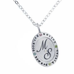 Personalized Silver Oval Charm with Wide Rim and Diamonds Necklace - wedding established date, initials, monogram, kids names on jewelry
