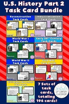 American History Task Cards includes 7 sets of task cards that can be used for teaching American history. Topics include: Reconstruction, Industrialization, WWI, Early 20th Century, WWII, Cold War, and Civil Rights Movement. #vestals21stcenturyclassroom #americanhistory #americanhistorytaskcards #americanhistoryactivities #americanhistory5thgrade #americanhistorymiddleschool #teachingamericanhistory #ushistory #ushistoryactivities #teachingushistory