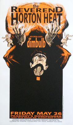 Reverend Horton Heat w/ Dimbulb - Silkscreen concert poster (Hess 95-17) (click image for more detail) Artist: Derek Hess Venue: Peabody's Downunder Location: Cleveland, OH Concert Date: 5/26/1995 Edi