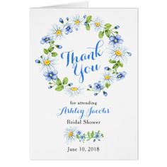 Blue White Country Daisy Bridal Shower Thank You Card - spring gifts style season unique special cyo