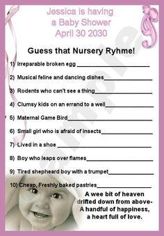 Low-key game idea: Baby shower game to leave on table for people to fill out if they want -- prize given away at end of party.