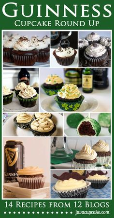 Guinness Cupcake Round Up - 14 recipes from 12 bloggers! by JavaCupcake.com