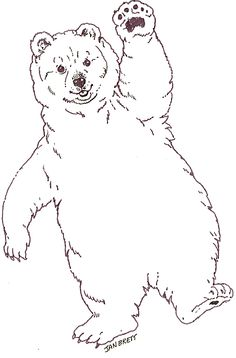 Mural Three Snow Bears Baby Bear http://janbrett.com/mural_tsb/mural_three_snow_bears_main.htm