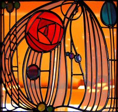 Stained glass, Charles Rennie McIntosh rose