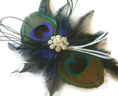 COBALT Peacock Feather BOW TIE Bridal Hair by maggpieseye on Etsy, $30.00