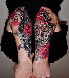 Black & Red Sleeves #tattoo