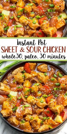 instant pot sweet and sour chicken is so easy and so quick to make. It& completely Paleo, sugar free, gluten free, and made in less 30 minutes. The simplicity of this recipe makes it perfect for a weeknight meal that& family friendly, or for meal prep. Healthy Diet Recipes, Cooking Recipes, Paleo Food, Gf Recipes, Quick Recipes, Cooking Tips, Easy Whole 30 Recipes, Whole30 Recipes Chicken, Cooking Classes