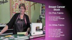 Breast Cancer Ribbon Quilt Block, via YouTube.