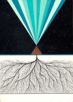 "Above : An Infinite Space to Glow Below : An Infinite Place to GrowAcrylic and Ink on panel12"" x 18"" 2009"
