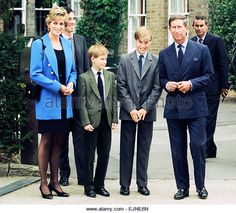 Prince William (third left) poses at a photocall with his mother Diana, Princess of Wales, his brother Prince Harry and father Prince Charles before his first day at Eton College Public School. 6th September 1995. - Stock Image