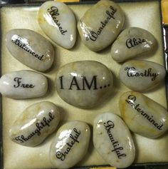 Inspiration Word Stones I AM . . . set of 11 med/large stones, affirmations, beautiful, blessed, free, grateful, worthy, alive and more. $32.50 Great for your home or a therapy office!