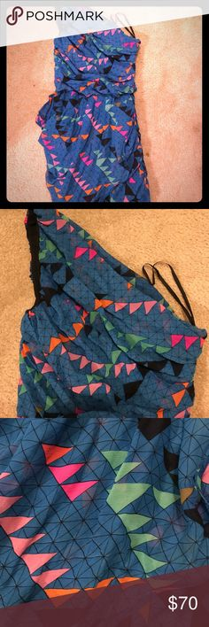 Mara Hoffman geometric dress Bold colors. Bold cut. Makes for a beautiful party dress. Mara Hoffman, size 4, one shoulder geometric print dress. Lined. With body hugging shape. Mara Hoffman Dresses One Shoulder