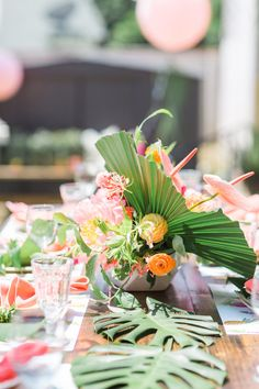Guest tablescape from a Tropical Birthday Party on Kara's Party Ideas | KarasPartyIdeas.com (20)