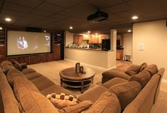 Explore this Home Theater design posted by Rick & Donna Hamblen. View estimated - Projector - Ideas of Projector - Explore this Home Theater design posted by Rick & Donna Hamblen. View estimated costs list of materials needed and estimated labor costs. Home Theater Rooms, Home Theater Design, Home Theatre, Cinema Room, Small Basements, Small Finished Basements, Finished Basement Designs, Unfinished Basements, Man Cave Home Bar