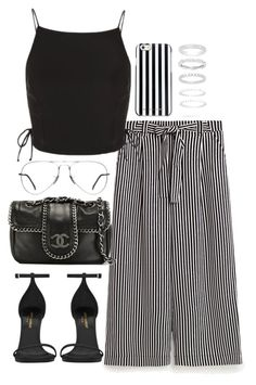 """Untitled #4544"" by theeuropeancloset ❤ liked on Polyvore featuring Topshop, MICHAEL Michael Kors, Belk Silverworks, Ray-Ban, Chanel and Yves Saint Laurent"