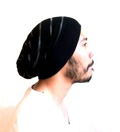 Slouch Mens Beanie Hat Men Clothes unisex Black by MissTopKnot, $26.00