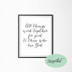 All Things Work Together For Good Printable Wall Art - Instant download, christian, bible, inspirational, god, verse, quotes, romans 8:28