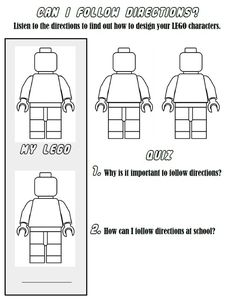 Lego listening lesson-- tell kids how to color in left, right, and then work with partner to do the remaining two. Elementary School Counseling, School Social Work, School Counselor, Elementary Schools, Career Counseling, Elementary Guidance Lessons, Lego Classroom Theme, Experiment, Following Directions Activities