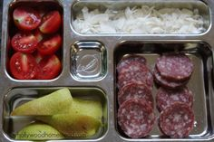 Paleo Kids: Preschool Lunch Ideas – 8 nitrate free salami, pear slices, tomato slices and coconut chips Lunch Box Recipes, Lunch Ideas, Paleo Kids, Real Food Recipes, Healthy Recipes, Healthy Lunches For Kids, Kids Meals, Vegetarian Lunch, How To Eat Paleo