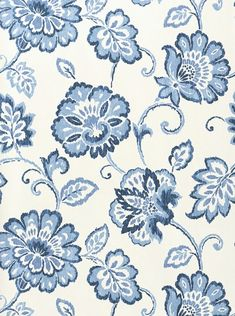 White wallpaper with floral Ikat design in Blue. From Thibaut. Textiles, Textile Patterns, Textile Design, Print Patterns, Floral Design, Blue Floral Wallpaper, White Wallpaper, View Wallpaper, Fabric Wallpaper