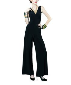 Take a look at this Black Wide-Leg Jumpsuit by Clara Sunwoo on #zulily today!