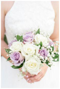 Aly & Erik's Lavender Wedding in New Hampshire, by Sarah Surette Lavender & White Rose Bouquet Purple Roses Wedding, Rose Wedding Bouquet, White Wedding Bouquets, Wedding Flower Arrangements, Floral Wedding, Elegant Wedding, Wedding Decor, Wedding Ideas, Bridesmaid Bouquet White