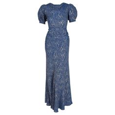 1930's Metallic Blue-Roses Floral Lame Belted Puff Sleeve Bias-Cut Evening Gown | From a collection of rare vintage evening dresses and gowns at https://www.1stdibs.com/fashion/clothing/evening-dresses/
