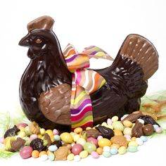 Easter chicken in French chocolate. Look closely, there are chocolate eggs, turtles and fish included! They ship to the US - an impressive Easter table display. French Chocolate, Easter Chocolate, Chocolate Treats, Chicken In French, My Childhood Memories, Old Toys, Simple Pleasures, Recipe Cards, Easter Eggs