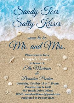 """Blue Beach Waves Sandy Toes Couple's Shower Invitation. Size: 5"""" x 7"""" Make custom invitations and announcements for every special occasion! Choose from twelve unique paper types, two printing options and six shape options to design a card that's perfect for you. Size: 5"""" x 7"""" (portrait) or 7"""" x 5"""" (landscape) Standard white envelope included Add photos and text to both sides of this flat card at no extra charge Use the """"Customize it!"""" CLICK IMAGE FOR MORE DETAILS. Wedding Reception Invitations, Rehearsal Dinner Invitations, Wedding Invitation Cards, Bridal Shower Invitations, Custom Invitations, Invite, Wedding Stationery, Birthday Invitations, Beach Wedding Reception"""
