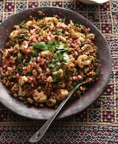 Freekeh with cauliflower, pomegranate and mint.