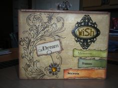 Treasure box I made from an old cigar box. Each side is different. It was a gift to the friend who turned me on the the cigar box buying place...Thanks Heather!