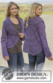 "Knitted DROPS jacket worked in a circle in garter st with lace pattern in ""Big Merino"". Size: S - XXXL. ~ DROPS Design"
