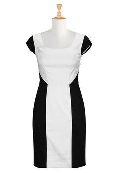 Black And White Dresses, Stretch Cotton Sateen Dresses Shop women's fashion dresses, Party dresses, women's party dresses, womens long sleev...