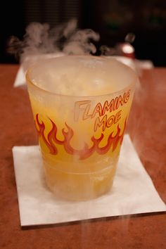 what to eat and drink at the Simpsons' Springfield USA  in Universal Studios Florida - like an actual Flaming Moe!