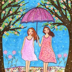Friendship Painting, Sister Painting, Whimsical Folk Art Painting Art Print on Wood. $35.00, via Etsy.